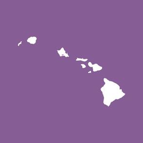 Hawaiian Islands silhouette - FQ panel, white on Kauai mokihana berry