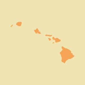 Hawaiian Islands silhouette - FQ panel, creamsicle