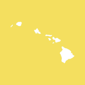 Hawaiian Islands silhouette - FQ panel,  white on Oahu ilima plant yellow