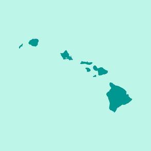 Hawaiian Islands silhouette - FQ panel, teal on aqua