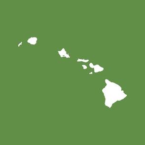Hawaiian Islands silhouette - FQ panel,  white on molokai kukui nut flower green