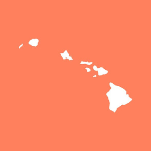 Hawaiian Islands silhouette - FQ panel, white on coral pink