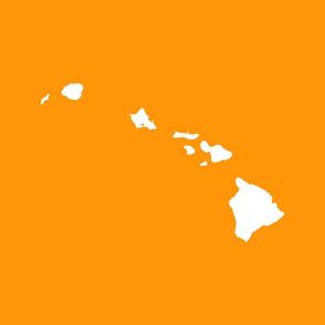 Hawaiian Islands silhouette - FQ panel, white on Lanai kaunaoa plant orange-gold