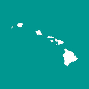 Hawaiian Islands silhouette - FQ panel, white on teal