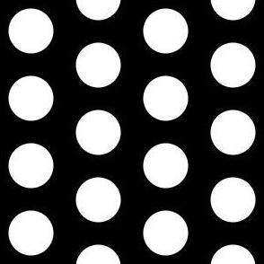 Large white polkadots on black - 1 inch polkadots
