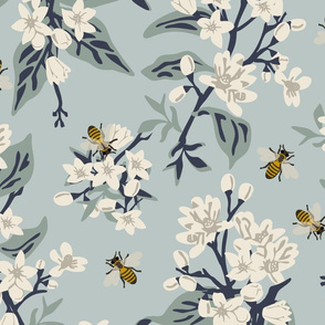 Flowers & Bees  ONLY - Jumbo - Blue