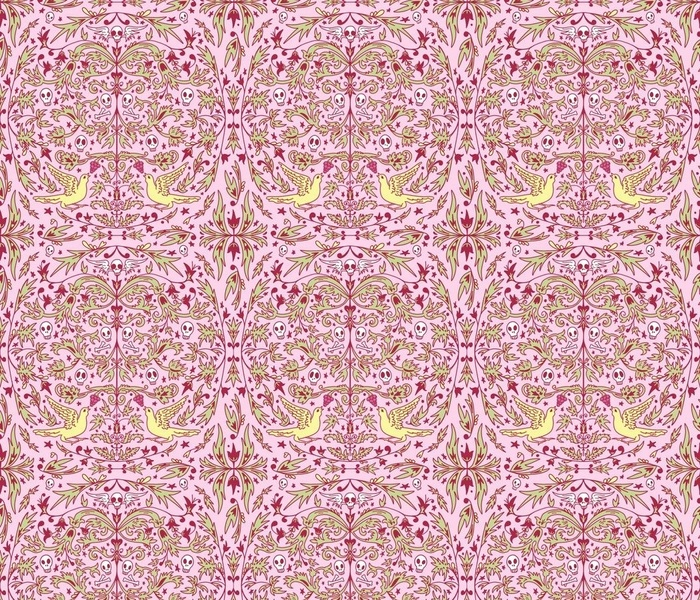 Pink and Green Rococo Pattern
