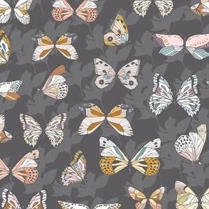 Eden Butterflies (charcoal) MED
