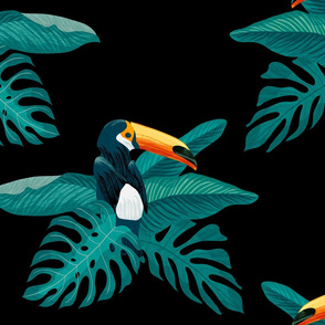 Palm leaves and toucan on a dark big