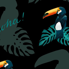Aloha! Palm leaves and toucan on white big