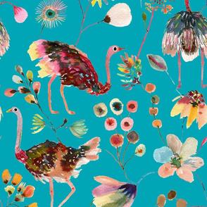 Ostriches Blue - Multicolor