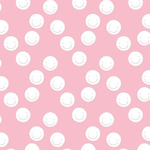 Have a good day happy smiley faces positive vibes boho nursery design soft pink white girls SMALL