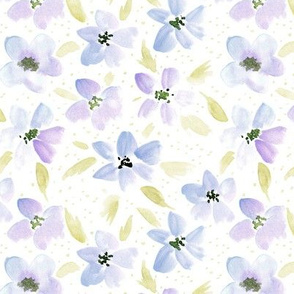 bloom in Versailles - watercolor pastel meadow - painted wild flowers a098