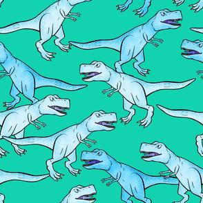 Large - Light Blue T-Rex Herd on Teal