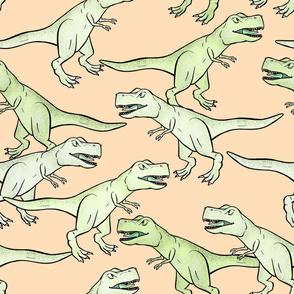Large - Light Green T-Rex Herd on Light Peach