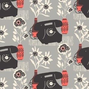 Mid-Century Phone and Flowers (Grey and Red)
