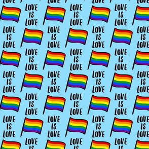 Love is Love - pride flag on blue  - LAD21