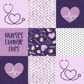 Nurses Change Lives  - Nurse patchwork wholecloth - purple - C21