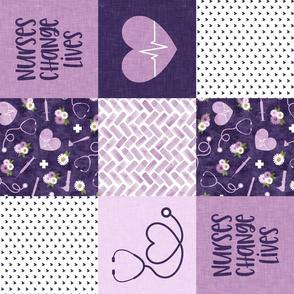 Nurses Change Lives  - Nurse patchwork wholecloth - purple - (90) C21