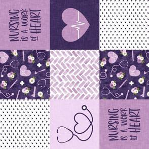 Nursing is a work of heart - Nurse patchwork wholecloth - purple - (90) C21