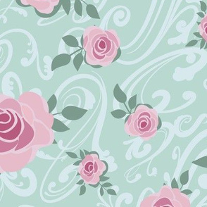 Romantic roses on Green pastel