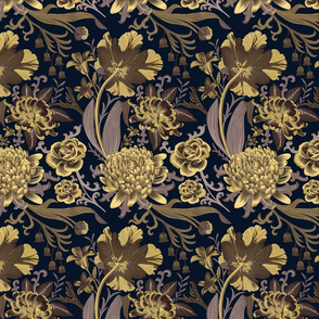 Baroque florals - golden - small