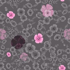 Poppies in Pink and Gray