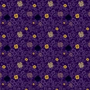 Ditsy Poppies in Rich Purple and Gold