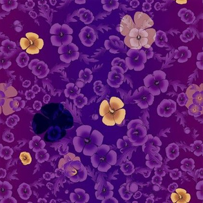 Poppies in Vivid Purple with Blue and Gold