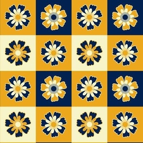 Teal and coral Floral medium scale allover