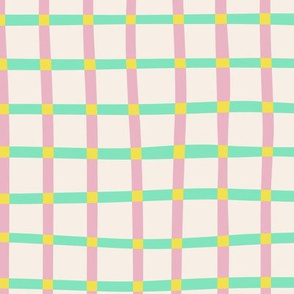 Blossoms Check - pink and mint