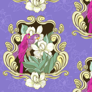 Macaw and Magnolias Rococco- purple