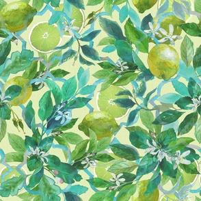 lemon watercolor Amalfi coast