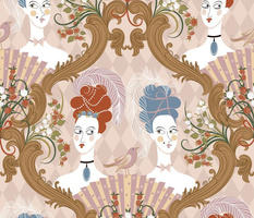 Damask rococo pattern with two girls_ a bird_ roses and style elements. Comic illustration