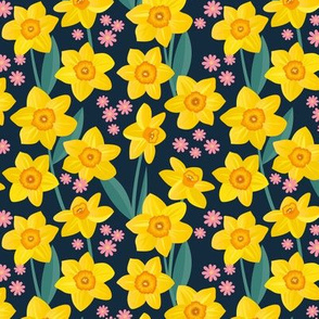 Spring daffodil and daisy garden flowers sweet colorful daffodils blossom boho nursery yellow orange pink teal navy blue