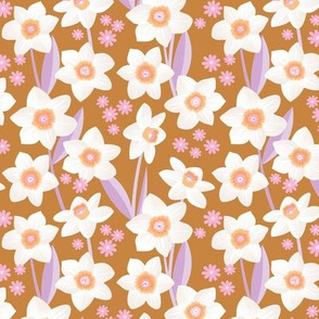 Spring daffodil and daisy garden flowers sweet colorful daffodils blossom boho nursery cinnamon lilac pink white