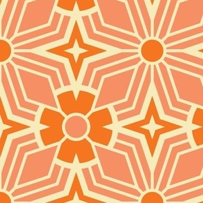 Retro Geometric - Coral Large Scale