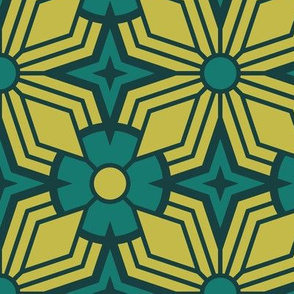 Retro Geometric - Large Scale Teal