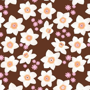 Daffodils and daisies romantic blossom boho garden summer spring nursery design girls maroon pink white orange