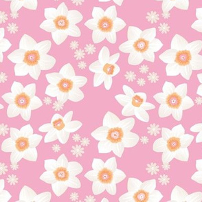 Daffodils and daisies romantic blossom boho garden summer spring nursery design girls white pink orange