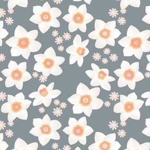 Daffodils and daisies romantic blossom boho garden summer spring nursery design girls white stone gray orange blush