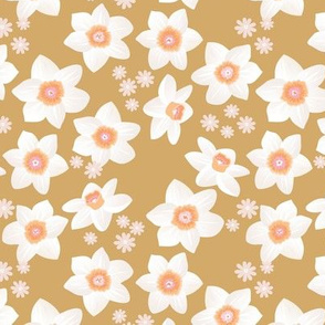 Daffodils and daisies romantic blossom boho garden summer spring nursery design girls white ochre yellow cinnamon camel
