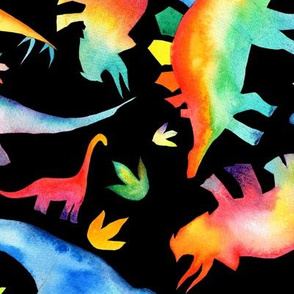 Watercolour Rainbow Dinosaurs -  non directional - large scale - on black