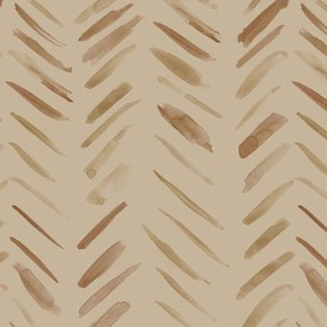 Coffee tones brush strokes watercolor herringbone - earthy tan shades modern painted geometrical abstract pattern a134-13