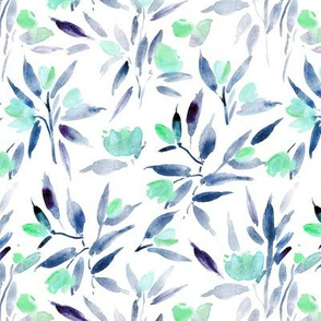 spring in San marino - emerald and indigo watercolor florals - painted tulip flowers a140