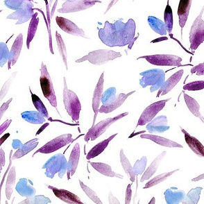 Lilac spring in San marino - watercolor florals - painted tulip flowers a140