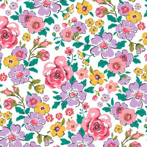 Ditsy Flowers Floral Fall Pink Purple