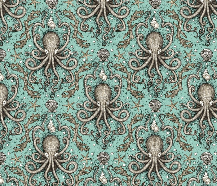 Octopus Parchment Damask in Sea Foam Aqua