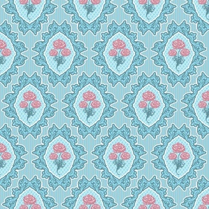 French Rococo pastel blue rococo pink roses large Wallpaper