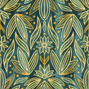 Rococo Gold Enamel Art Deco